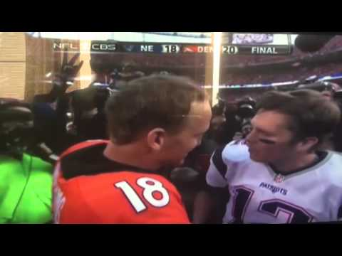 Legendary moment Brady and manning hug for one last time