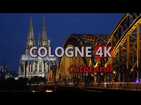 Ultra HD 4K Cologne Travel Germany Tourism Cathedral Dom Aerial View Sights UHD Video Stock Footage