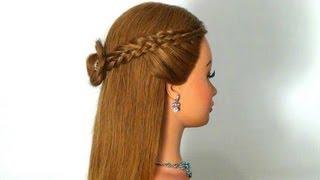 Прическа на каждый день с плетением. Hairstyle for every day.