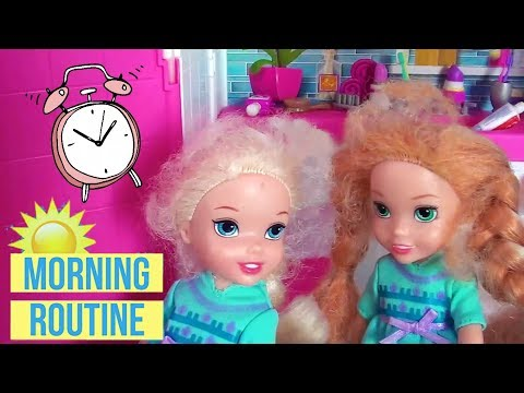 Anna And Elsa Toddlers School Morning Routine -  Barbie Dolls  - Rapunzel - Belle - Toys In Action