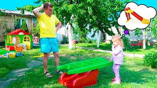 Varvara and Dad Play with Surprise Slide