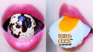 ASMR Eating lips focus quail eggs, eating sounds +食べる,咀嚼音,먹방 이팅 | LINH-ASMR
