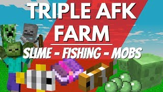 How to make a TRIPLE AFK Farm in Minecraft Update Aquatic 1 13 | SLIME FISH AND MOB FARM ALL AFK