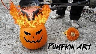 Casting Halloween Pumpkin Art With Molten Aluminum