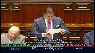 Manovra di bilancio 2019, informativa del Presidente Conte alla Camera