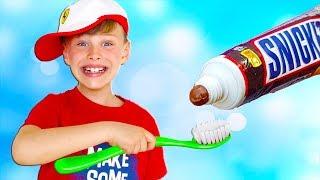 Утренняя рутина Али - Учим цвета-Разноцветные зубные щетки