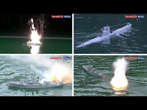 U-BOAT SUBMARINE CONVOY ATTACK, WARSHIP HUNT & DEPTH CHARGE EXPLOSIONS [UltraHD and 4K]