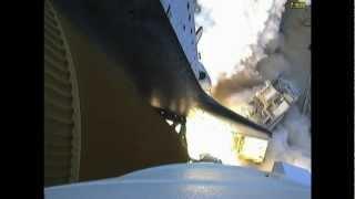 STS-135 Atlantis - Solid Rocket Booster camera - Port SRB looking down