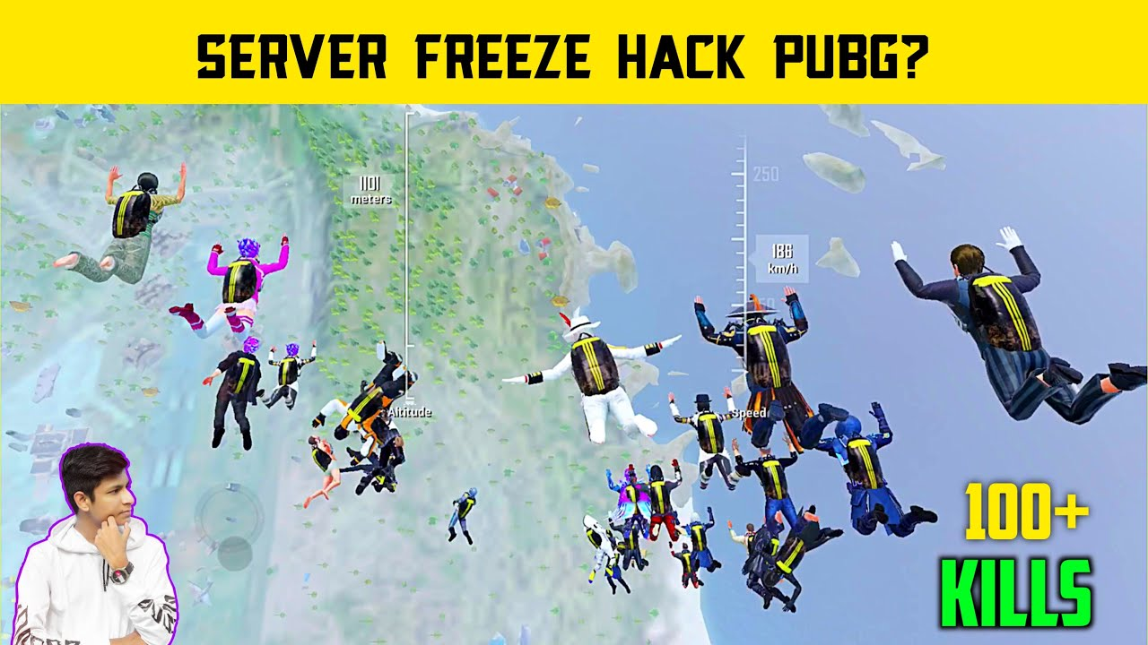 ? Server Freeze Hack Pubg Mobile Gameplay - 100 Player's Land At One Place - Legend X