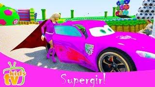 FUNNY PRANKS COLORS Disney Cars w Supergirl | Fun Cartoon videos for Kids w Nursery Rhymes