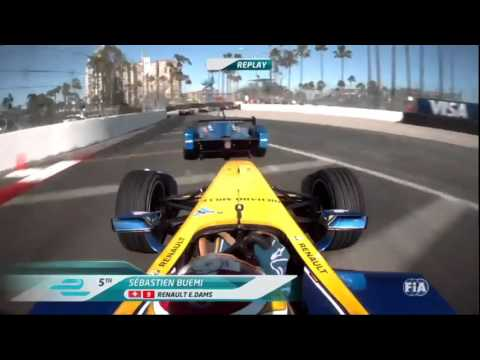Formula E 2016.  Long Beach ePrix.  Sebastien Buemi and Robin Frijns Crash