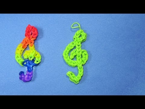 Rainbow Loom Charms: TREBLE CLEF (Music) Design on loom / bands