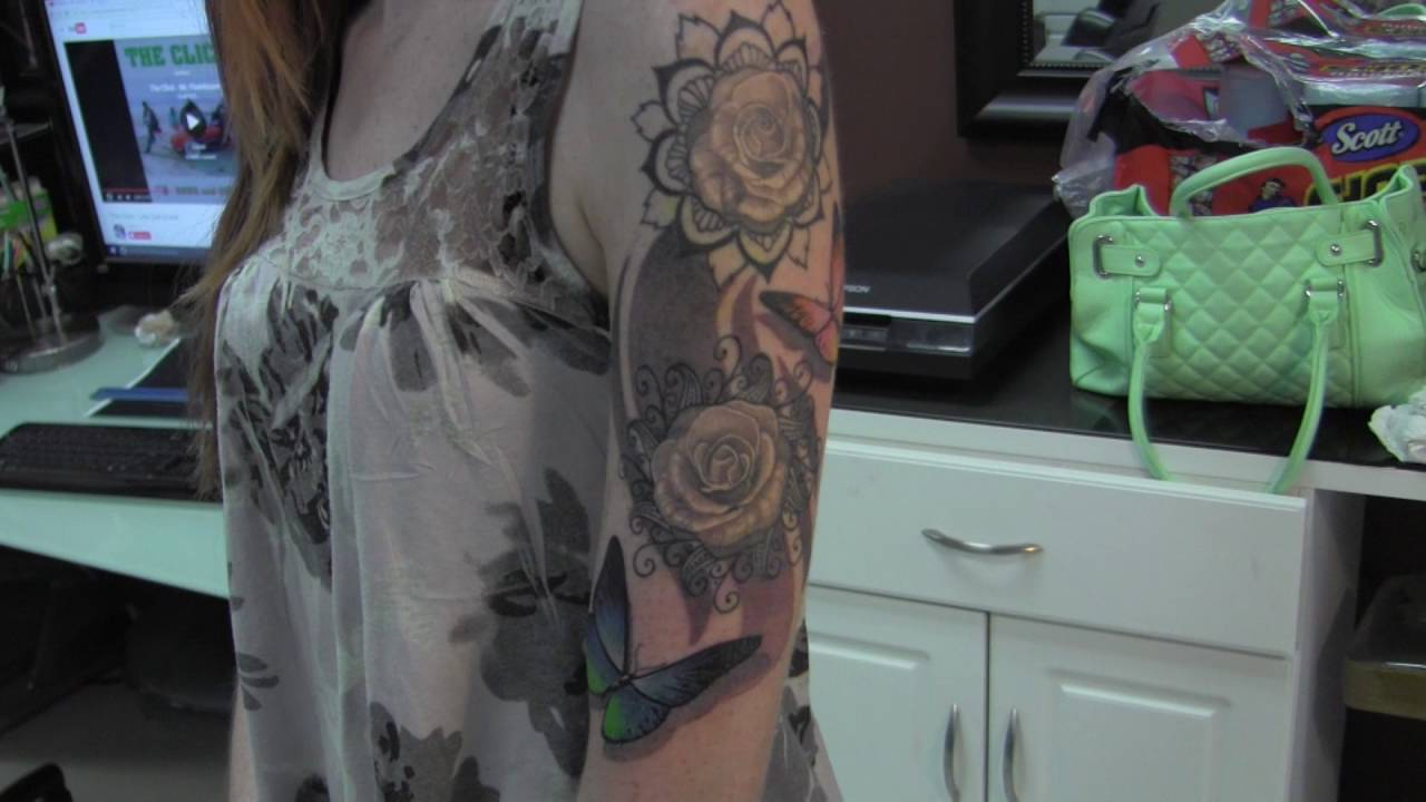 dba6cbce8 1/4 sleeve tattoo with mandala flowers, roses, color butterflies (Wylde  Sydes Tattoo)