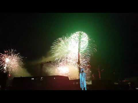 Incredible firework in Menningarnótt, Reykjavik, Iceland. (Culture night) 19.08.2017