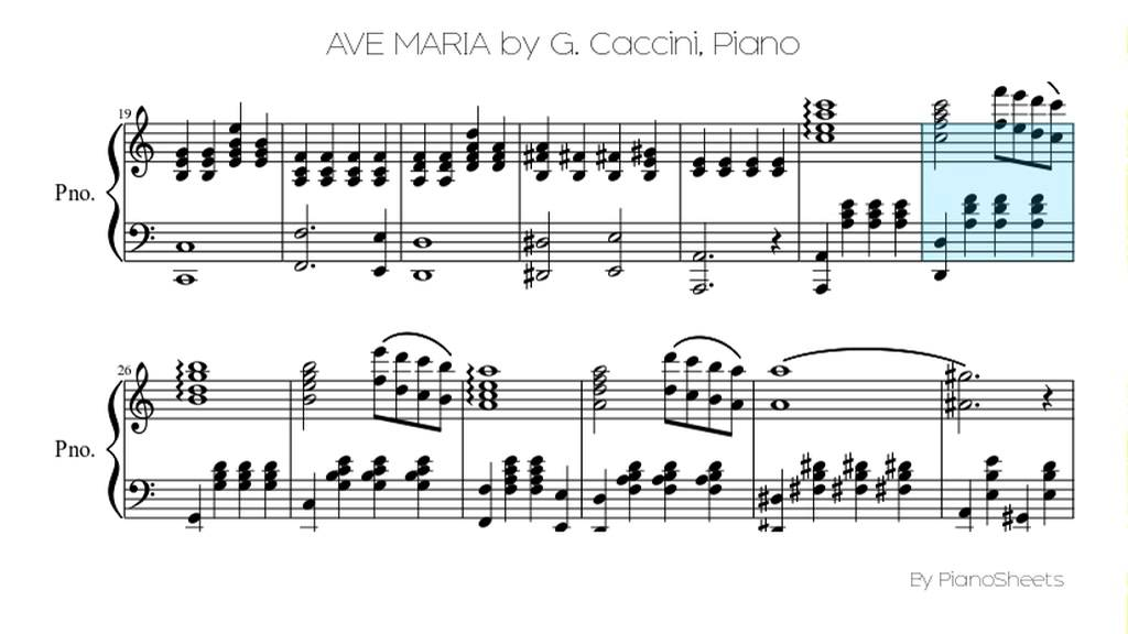 Piano ave maria sheet music piano : AVE MARIA by G. Caccini [Piano Solo] - YouTube
