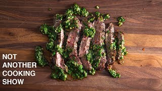 GRILLED SKIRT STEAK WITH CHIMICHURRI SAUCE GRILLIN WHILE CHILLIN