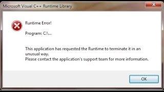 Solución al error Microsoft Visual C++ Runtime Library windows 7 y 8