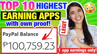 TOP 10 LEGIT & ΗIGHEST EARNING APPS: I Earned P100,759 in 1 APP FREE! OWN PROOF GCASH & PAYPAL MONEY