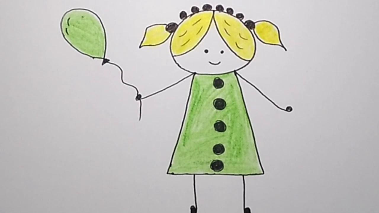 اسهل رسمة للاطفال رسم بنت كيوت تعليم الرسم للاطفال Draw Cute Girl