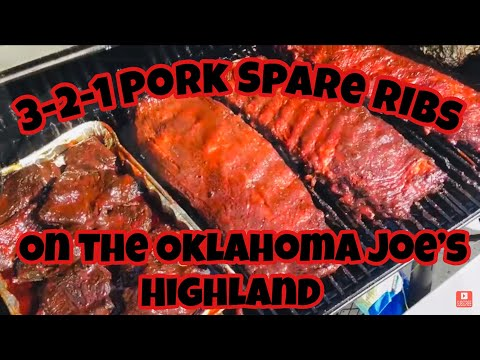 3-2-1 Pork spare ribs on the Oklahoma Joe's Highland Smoker