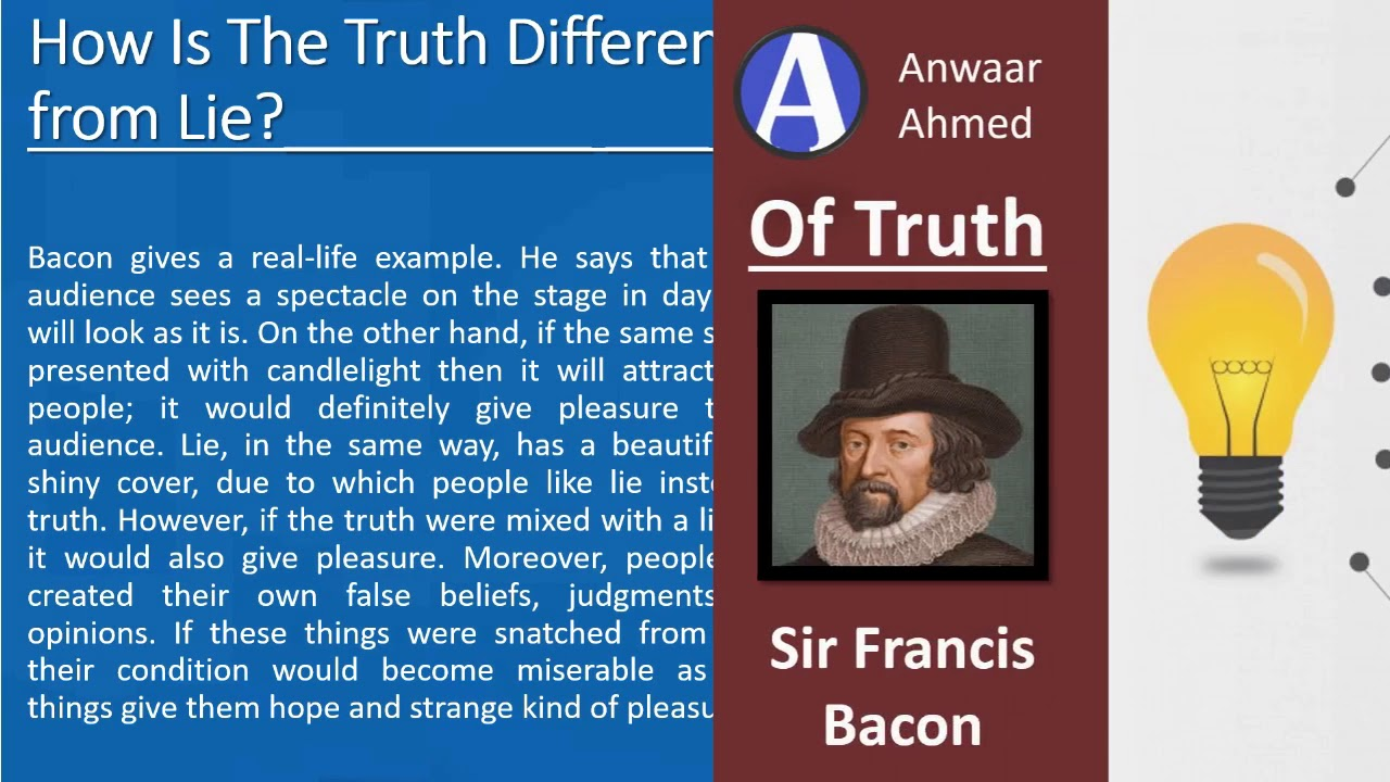 of truth by francis bacon critical appreciation