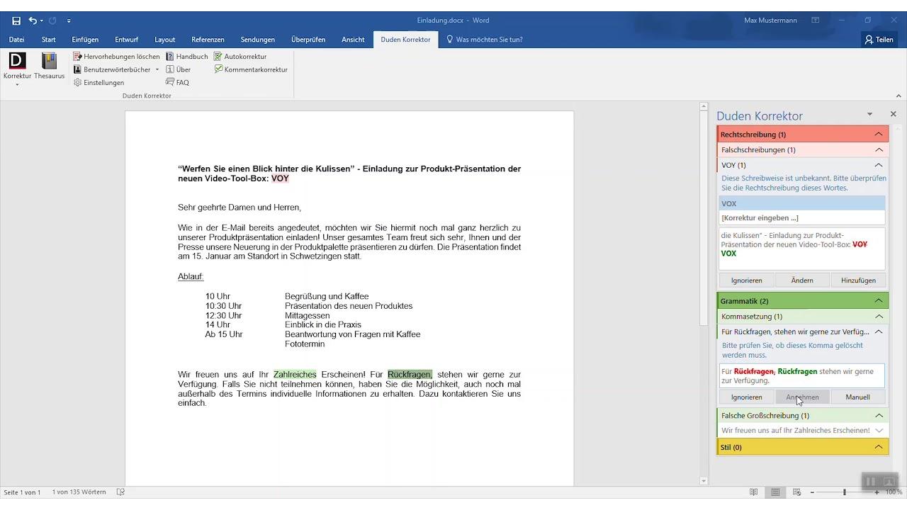 Wie Der Duden Korrektor Für Microsoft Office Ihnen Hilft Richtig Zu Schreiben