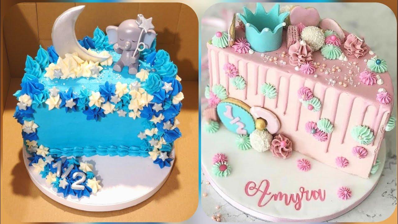 6 Month Birthday Cake Ideas For Kids Half Birthday Cake 1 2 Birthday Cake Designs Youtube