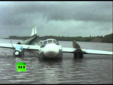 Caught on Video: Burning An-24 plane crash lands in Siberian river