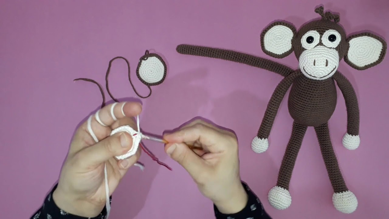 Amigurumi maymun yapımı örgü oyuncak maymun yapılışı amigurumi maymun kulak yapımı -08