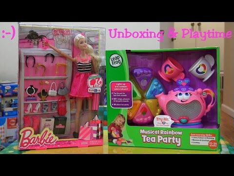 Toys for Little Girls: Musical Rainbow Tea Party and Barbie Doll Unboxing & Playtime