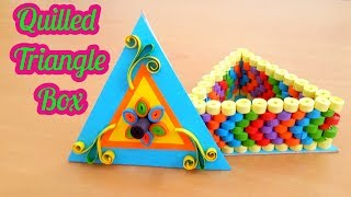 Quilled Triangle Box with paper Quilling Strips # Quilling jewelry Box  by art life