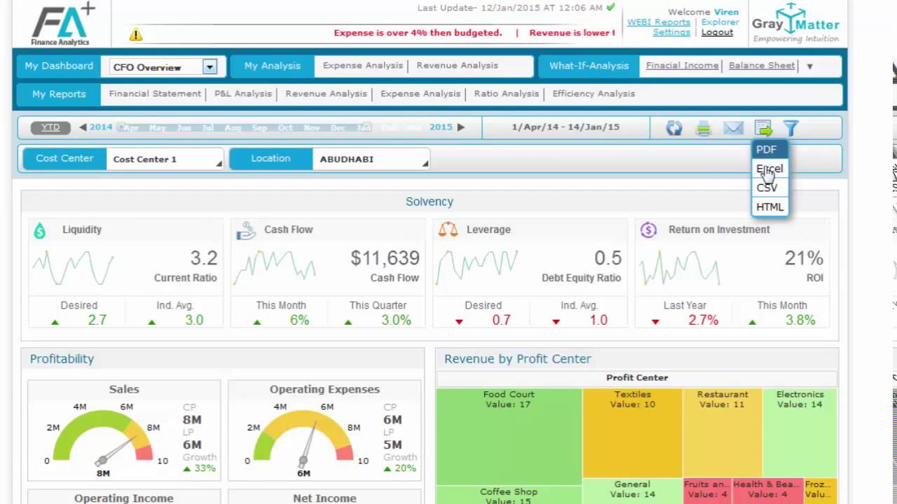 Cfo Dashboard Demo Financial Analytics Fa Youtube