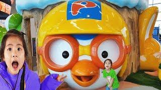 엄청 큰 뽀로로다!! 서은이의 대형 뽀로로 크롱 놀이터 완전 큰 키즈카페 미끄럼틀 물놀이 Giant Pororo, Crong and Playground