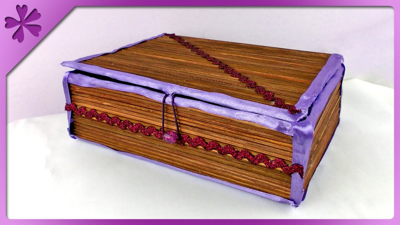 DIY Wooden skewers jewelry box (ENG Subtitles) - Speed up ...
