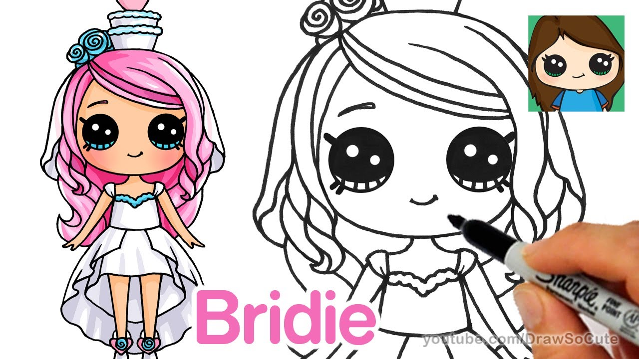 How To Draw A Cartoon Bride Shopkins Bridie Youtube