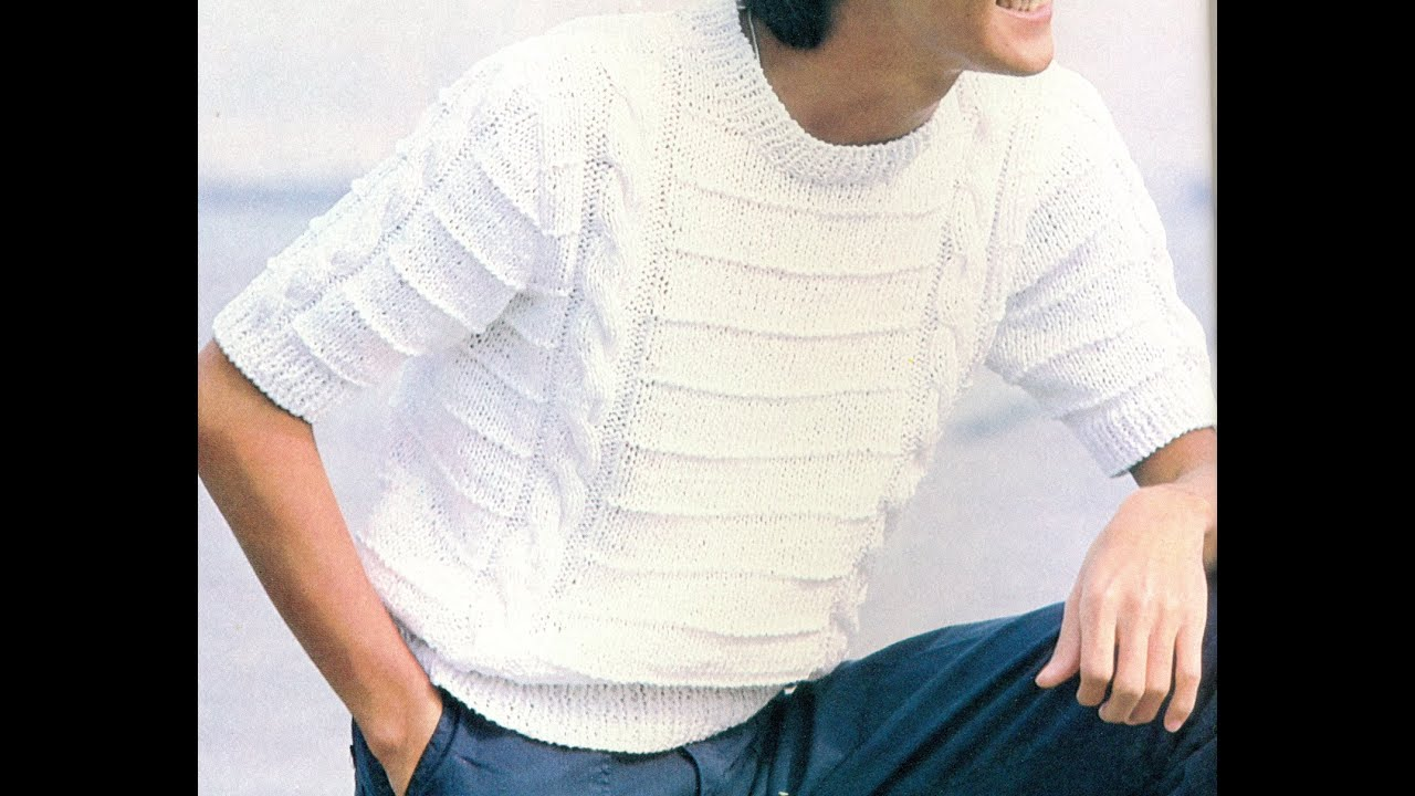 Patrón Para tejer Camisa Caballero a 2 Agujas - YouTube