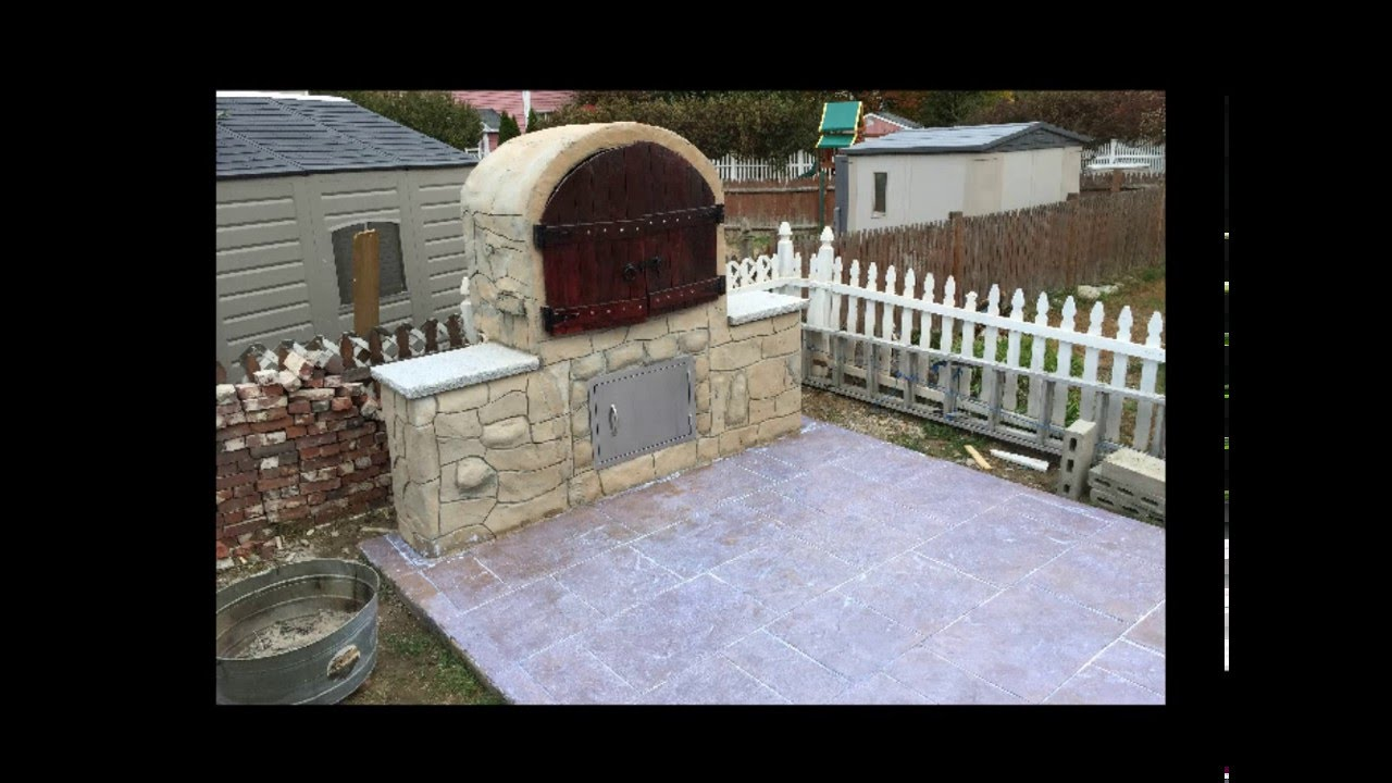 diy building bbq smoker roaster and stamped concrete patio youtube
