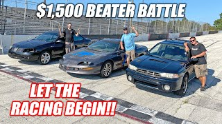 CHEAP CAR BATTLE!!! Who Bought the Best Car For UNDER $1,500?? (drag race, rally cross, oval track)