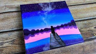acrylic easy painting sky night