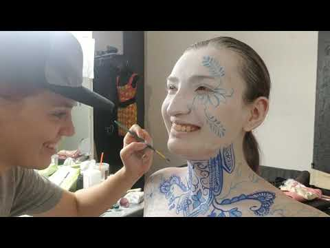 Blue China Body Paint