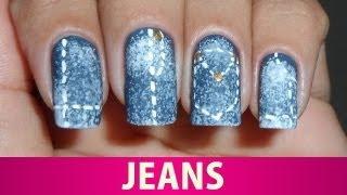 Unhas Decoradas de Jeans