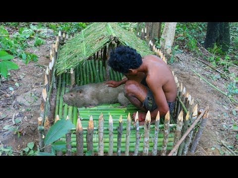 Primitive Technology - DIY How To Build Big Mouse's House With Grass And Bamboo By Ancient Skills
