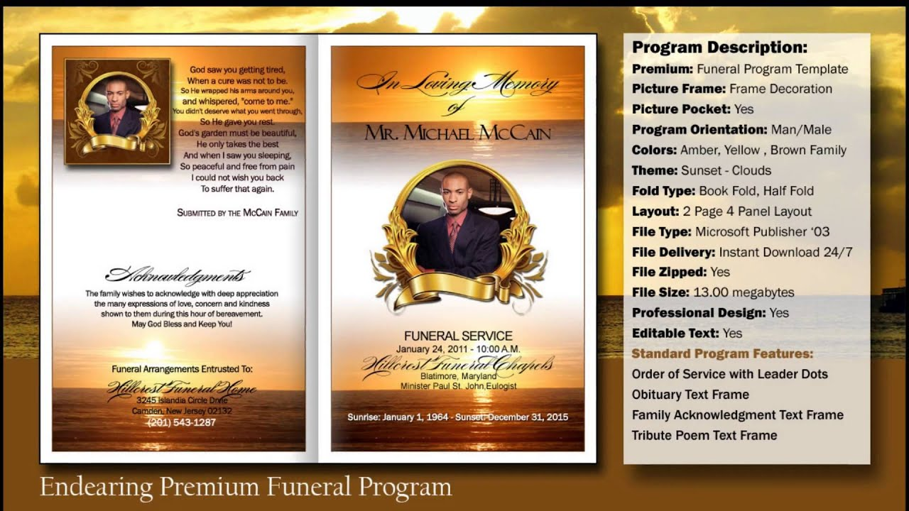 Funeral Program Endearing Template | Funeralprinter.com   YouTube  Free Obituary Program Template
