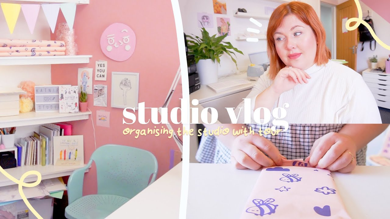 STUDIO VLOG (•́ε•̀) ~ Organising the Studio & Tour, Packing Etsy Orders, New Stationery & Pa