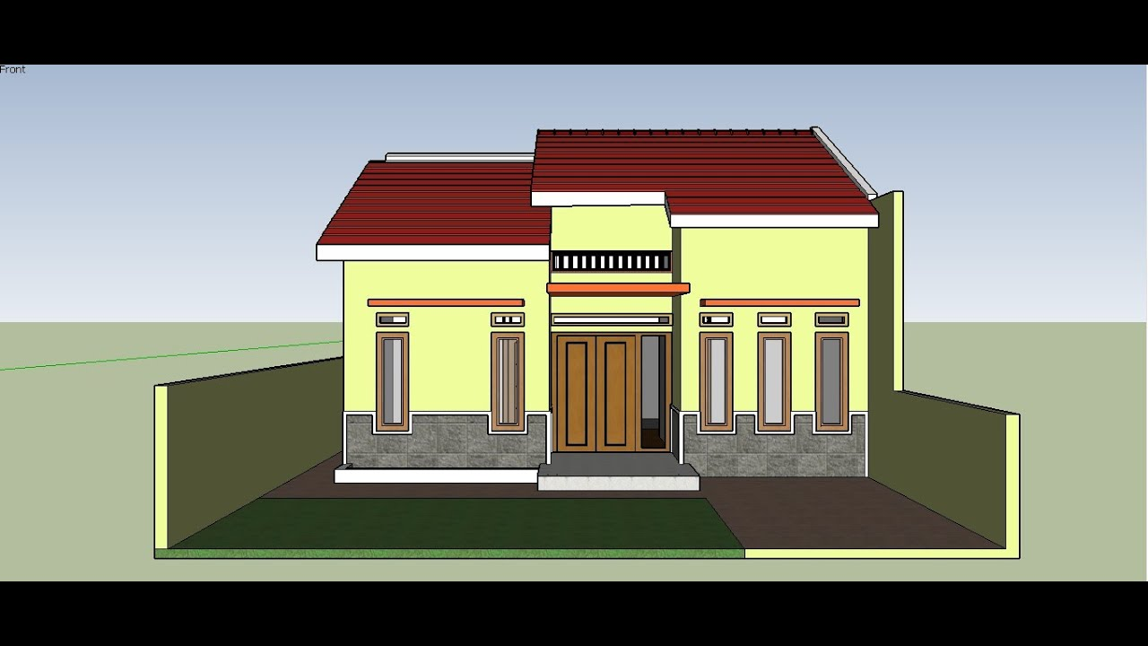 Contoh Desain Rumah Minimalis Ukuran 9x6 2 Kamar Tidur 1 Mushola Dan  Halaman Belakang - YouTube
