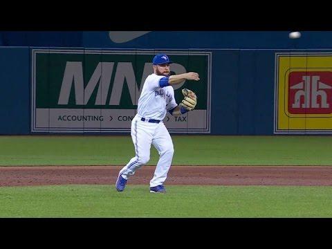 BOS@TOR: Martin plays third base, handles grounder