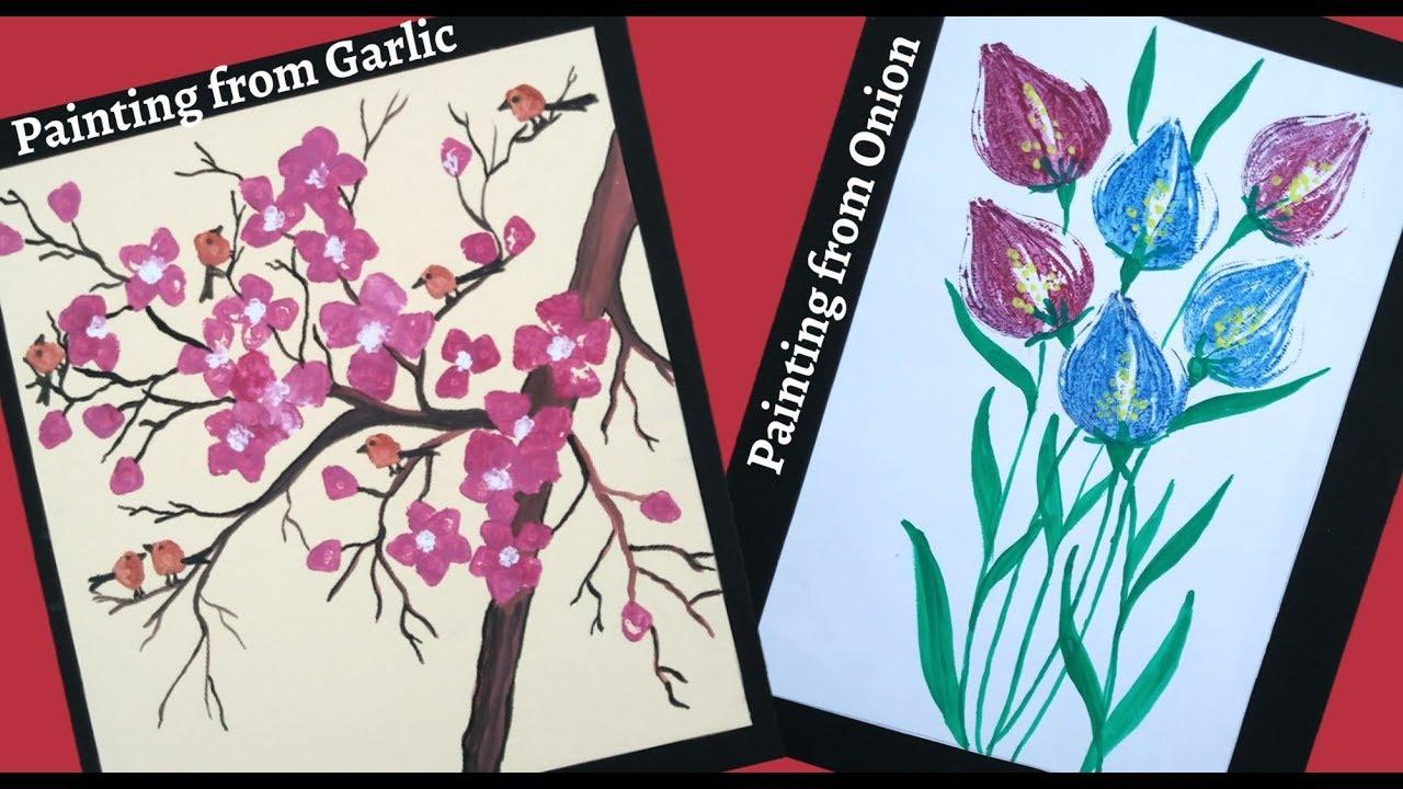 Vegetable Painting Vegetable Printing Onion Painting Vegetable Painting Ideas Youtube