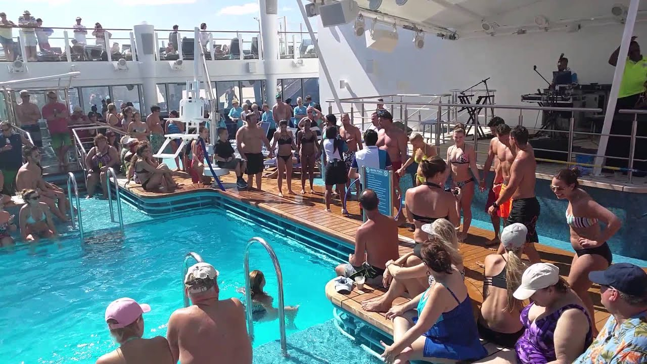 Funny full pool norwegian escape cruise ship team competition youtube for River cruise ships with swimming pool