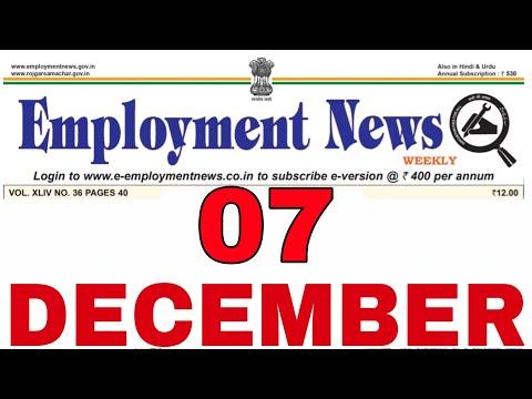 Employment News of This Week 7 December 2019 PDF || All Latest Govt Jobs 2019 || Rojgar Samachar