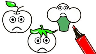 How To Draw Crying Fruits and Vegetables - Super Coloring Pages and Drawing for Children